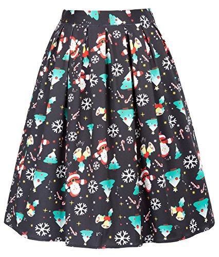 GRACE KARIN Vintage Black Santa Claus Swing Skirt Christmas Size M CL649-1