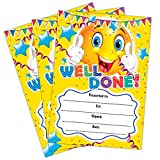 Well Done Certificate | A6 Pack of 20 | Ideal for Nurseries Schools Kids Clubs | 200gsm Gloss Quality Cards