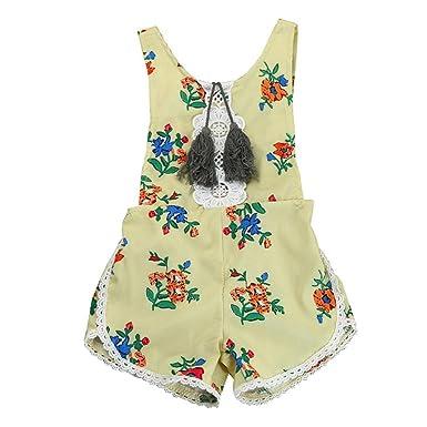 dd637c5808a Gotd Newborn Baby Girls Bodysuit Floral Romper Tassel Jumpsuit Outfits (3  Months