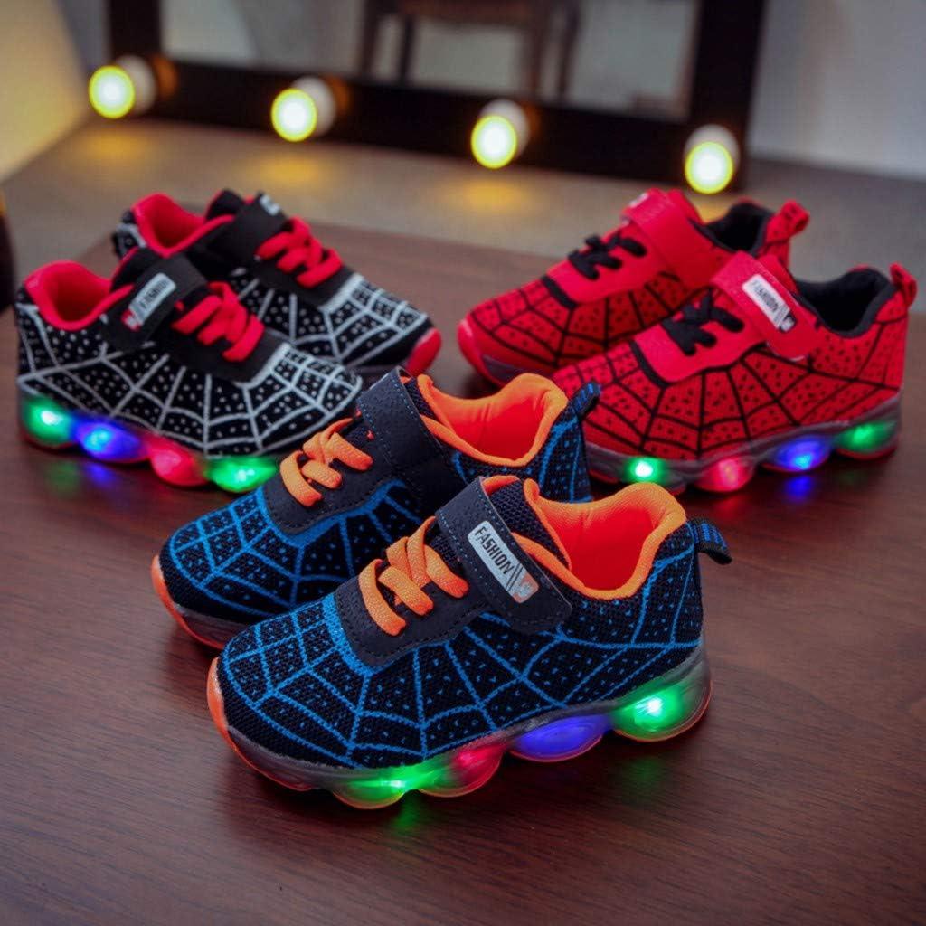 Staron Spider Web Kids LED Light Up Shoes Girls Boys Led Casual Flashing Sneaker Shoes for Toddler Little Kid Children
