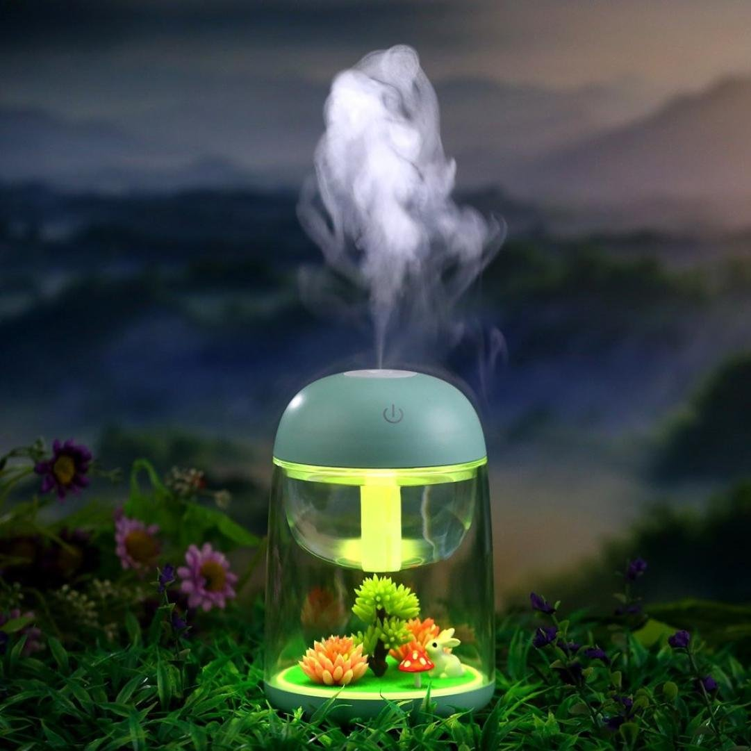 Lotus.flower Miniature Landscape USB Rechargeable Humidifier with Color Changing LED Night Light Fragrance Diffuser Machine - Portable Necessary For Home Decoration And Travel (Blue) by Lotus.flower