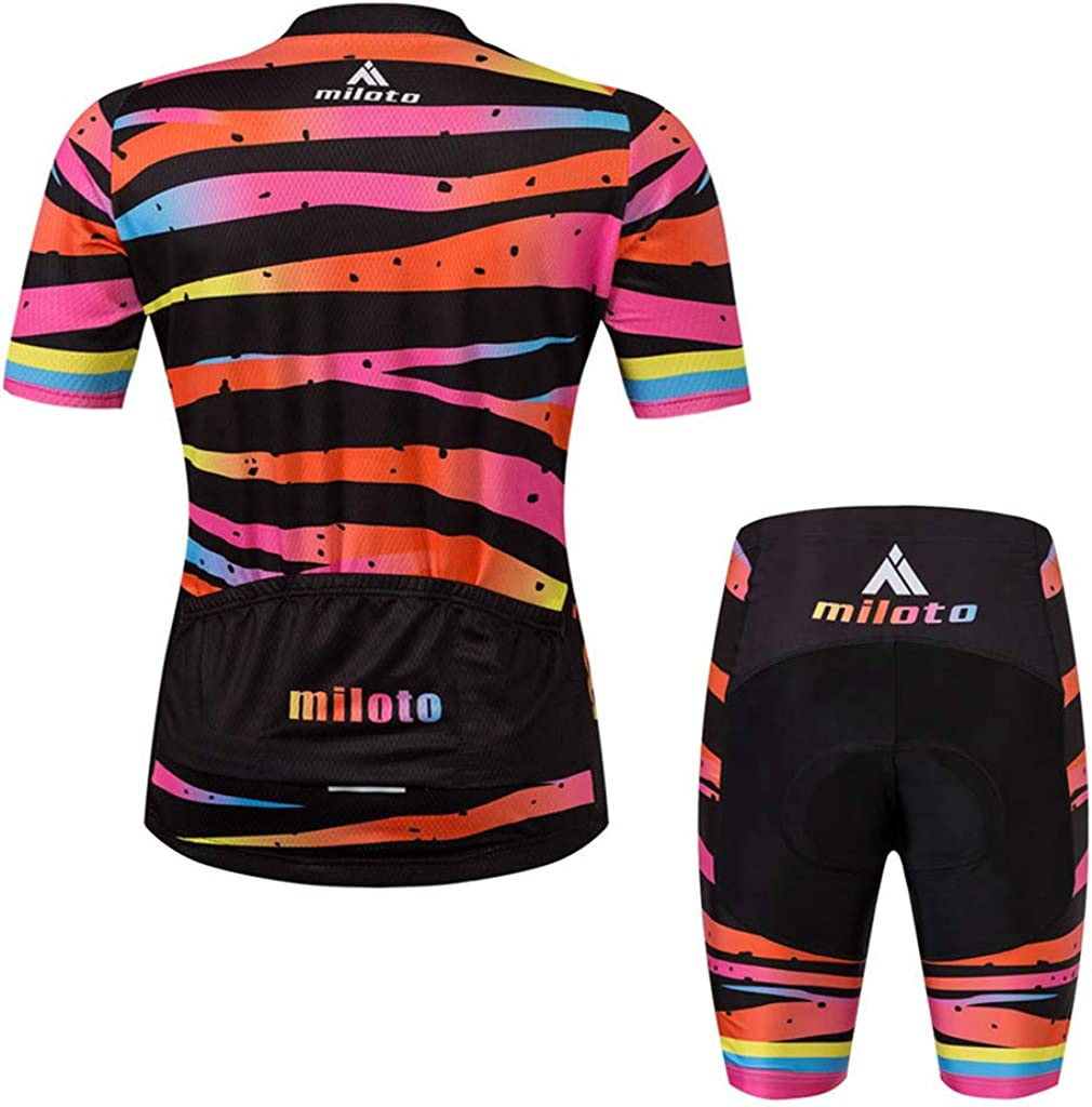 Womens Short Sleeve Cycling Jersey Jacket Cycling Shirt Quick Dry Breathable Mountain Clothing Set Bike Top