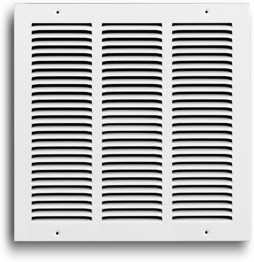 "Rocky Mountain Goods Air Return Grille - Heavy Duty Steel with Premium Finish - Includes Full Installation kit - Louvered Design - Paintable Vent Cover - Matte White - Consistent air Flow (12"" x 12"")"