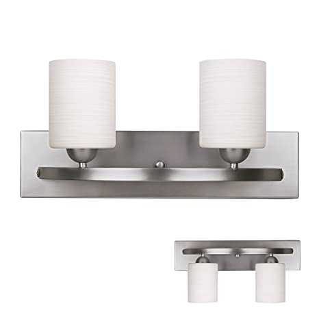 brushed nickel 2 globe vanity bath light bar interior lighting fixture - Bathroom Light Bar