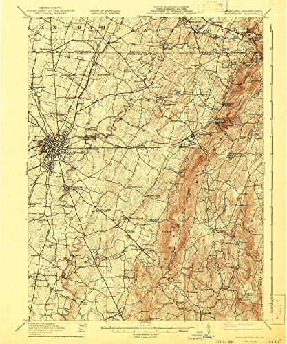 YellowMaps Hagerstown MD topo map, 1:62500 Scale, 15 X 15 Minute, Historical, 1912, Updated 1941, 19.8 x 16.5 in - Paper