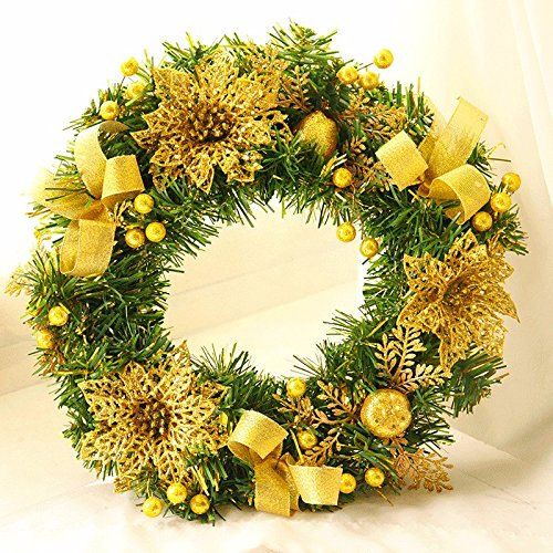 Christmas Garland for Stairs fireplaces Christmas Garland Decoration Xmas Festive Wreath Garland with Christmas wreath Golden 30cm PVC pine needles Christmas Wreath Vine by Caribou Furniture And Decor