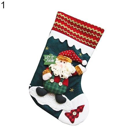 cb3fee2aa42 Cute 3D Santa Claus Snowman Xmas Stocking Gift Sock Christmas Holiday Decor  1 Amesii  Amazon.co.uk  Kitchen   Home