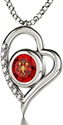 925 Sterling Silber Horoskop Herzkette Sternzeichen Skorpion Graviert mit 24k  Gold auf 8mm Swarovski Anhänger, a997f2c5b1