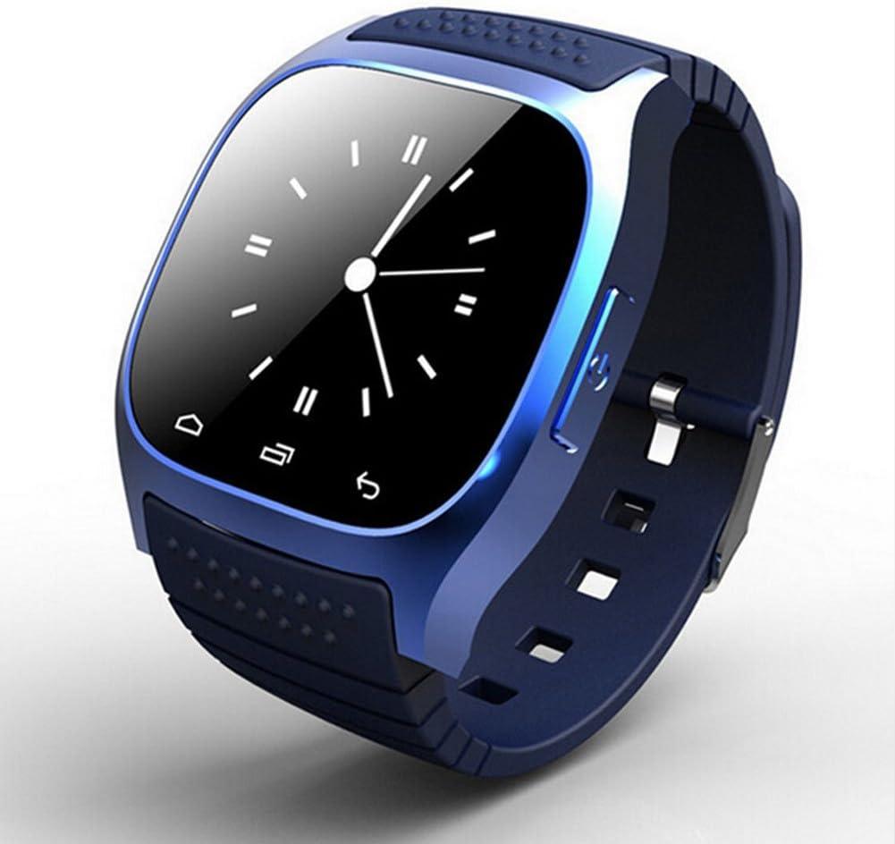 Reloj inteligente Smartwatch M26 uetooth con LED Alitmeter Reproductor de música Podómetro de alerta anti-pérdida para teléfonos Android IOS(Reloj inteligente M26 - AzulAzul)
