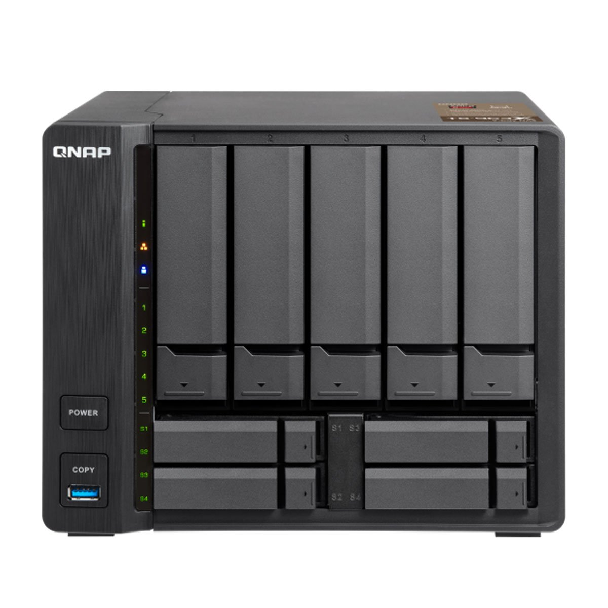 QNAP TS-963X-8G-US 5 (+4) Bay 10G AMD 64Bit X86-Based NAS, Quad Core  2 0GHz, 8GB RAM, 1 X 1GbE, 1 X 10GbE (10Gbase-T)