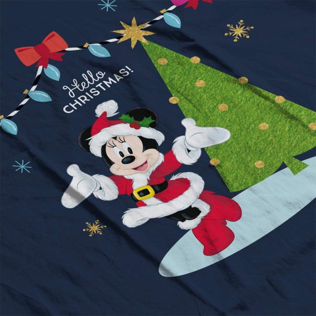 Disney Minnie Mouse Hello Christmas Men's Varsity Jacket Navy/White