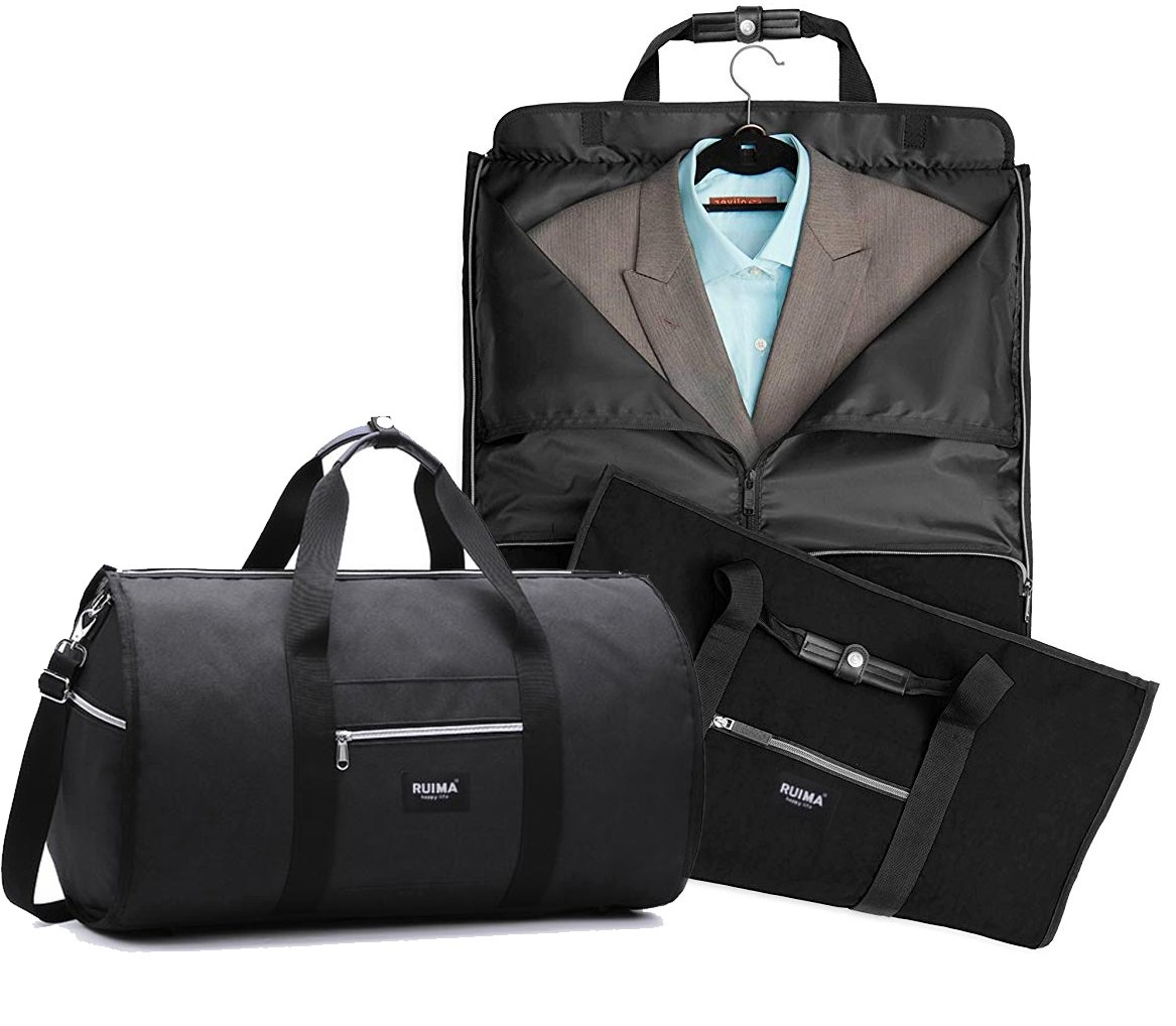 RUIMA Travel Garment Bag With Pocket, Mens Garment Bag Folding Design For Business Trip Or Other Formal Occasion. Hanging Garment Bag & Carryon Garment Bag Two-In-One (BLACK)