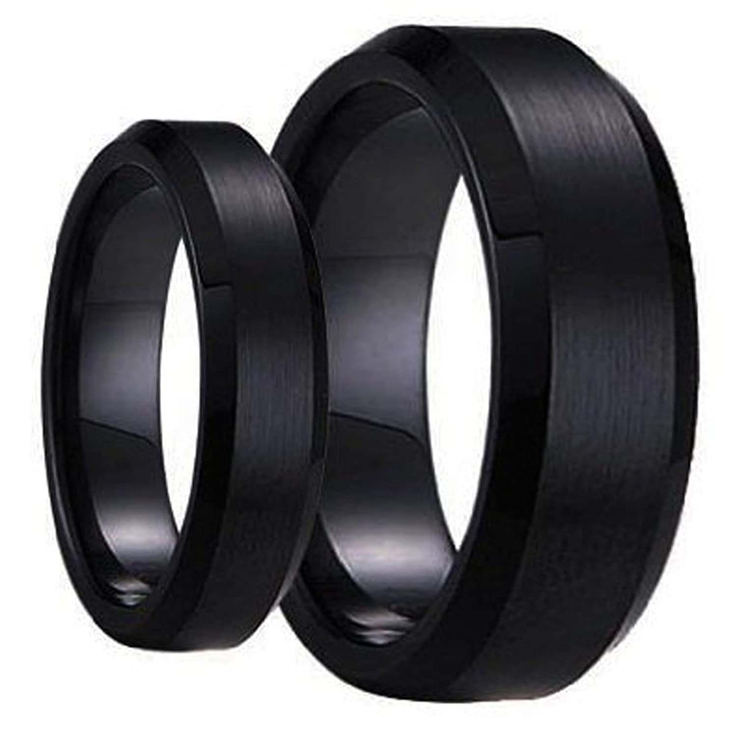 amazoncom swinger black ring set his hers matching 6mm 8mm black brushed center with polished edge tungsten carbide wedding band set jewelry - Black Wedding Ring Set