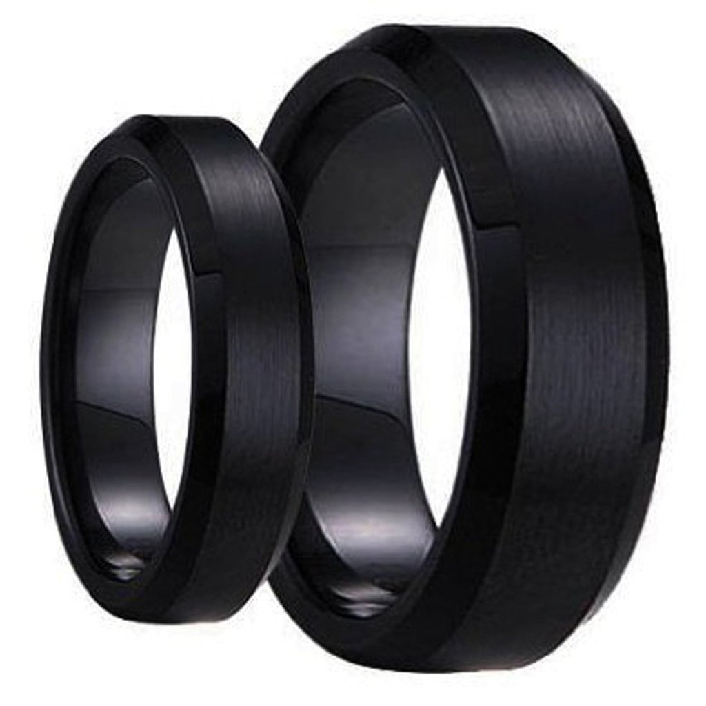 Swinger Black Ring Set His & Her's Matching 6mm / 8mm Black Brushed Center with Polished Edge Tungsten Carbide Wedding Band Set