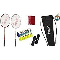 Jaspo GT 303 Pro Red/Sliver Badminton Set(2 Badminton Racket and 5 Feather Shuttle Cork,1 Carry Bag, 2 Grip,1 Badminton…