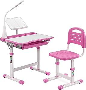 BiFanuo Kids Desks, Height Adjustable Children Desk and Chair Set,Childs School Student Sturdy Table with Tilt Desktop, LED Light、Pull Out Drawer Storage,Pencil Case,Metal Hook.Bookstand (Pink)