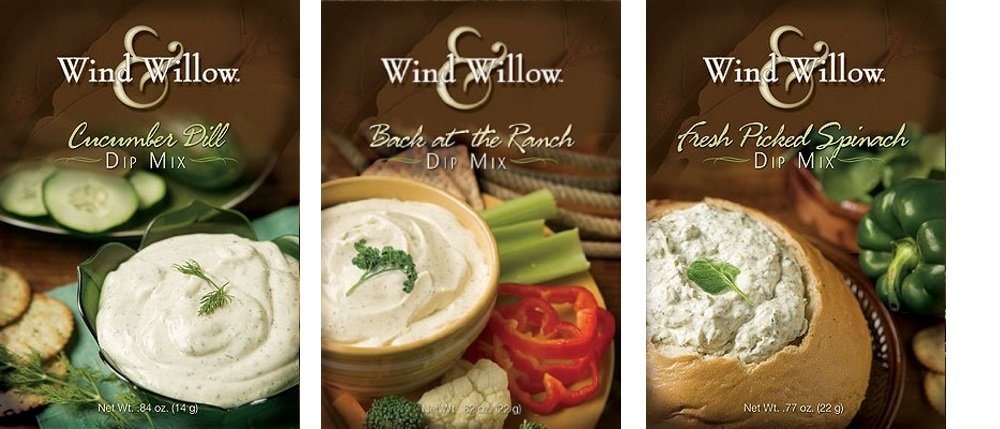 Wind & Willow Dip Mix Variety Pack - ''Back At the Ranch,'' ''Cucumber Dill,'' & ''Fresh Picked Spinach'' by Wind & Willow