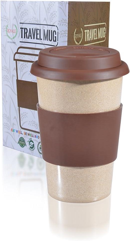 16oz Reusable to go marrón taza de viaje a prueba de fugas con ...