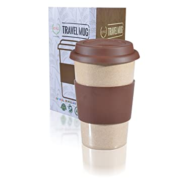 16oz Reusable to go marrón taza de viaje a prueba de fugas con tapa y  resistente 6b464ced8f4f