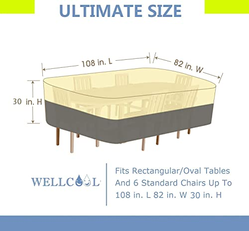 WELLCOOL Outdoor Patio Furniture Covers Waterproof Heavy Duty Rectangular Oval Patio Table Cover Outdoor Dinning Table Chair Set Cover, 108L x 82W x 30H Inches