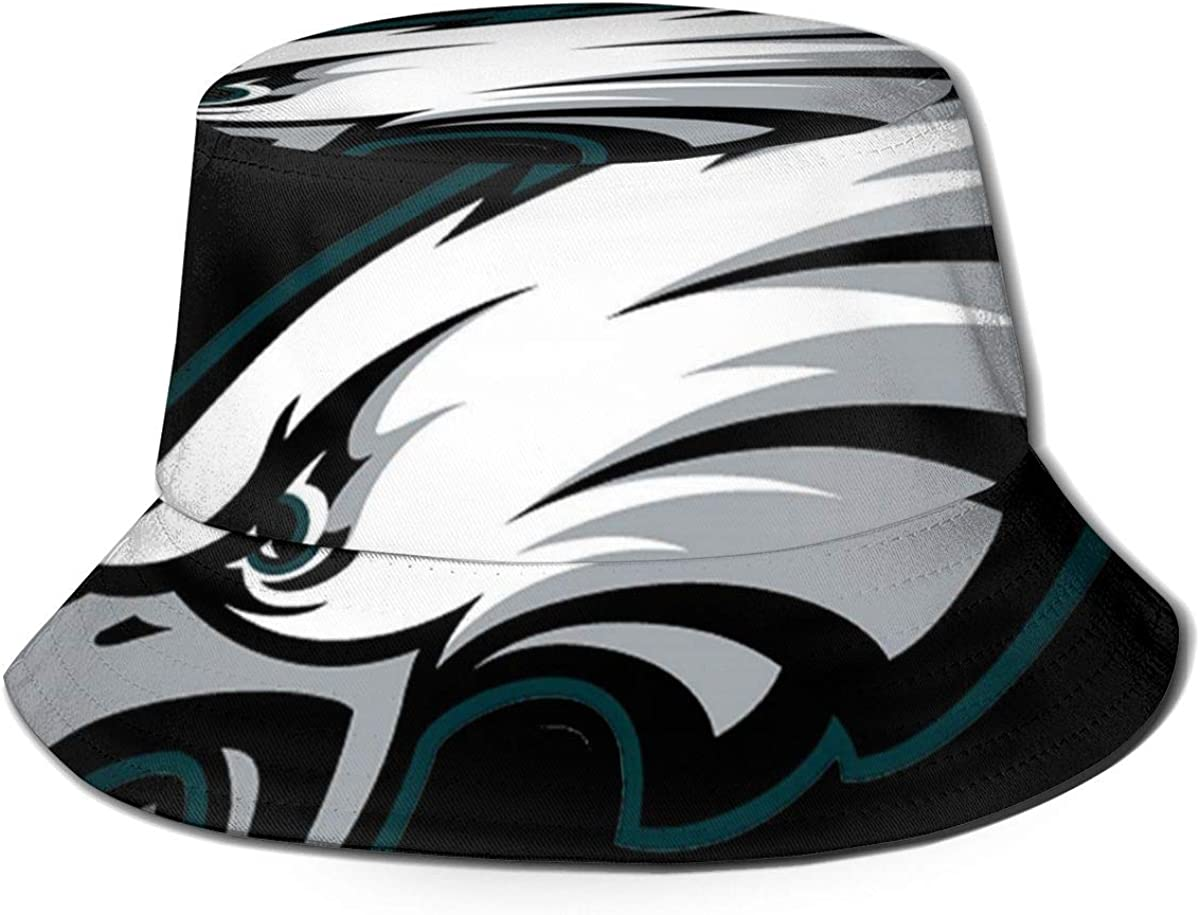 TTNUNU Men and Women General Caps Bucket Cap Philadelphia Eagles Hat Cotton Fishermans Hat Black