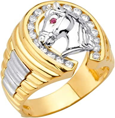 14ct Yellow Gold And White Gold Horseshoe Mens Cubic Zirconia Ring