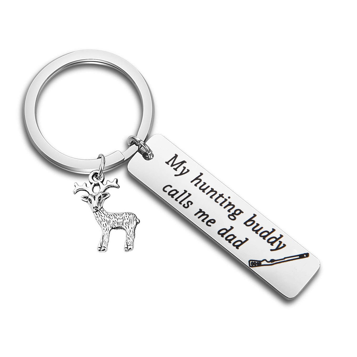 SEIRAA Hunting Gift for Dad My Hunting Buddy Calls Me Dad Keychain for Husband Grandpa Key Chain