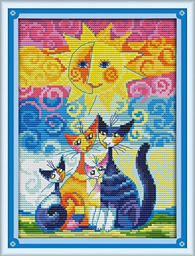 11CT 14CT Stamped Cross Stitch Kits With Pre-printed Pattern Cat  in There