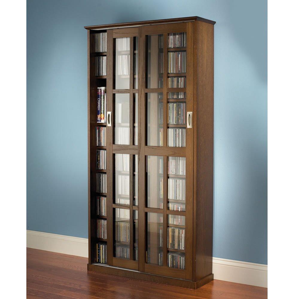 The Sliding Door 1,044 CD/468 DVD Library (Oak Finish)