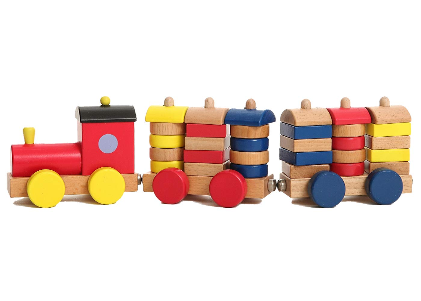 Migargle Wooden Block Train Toys Color &Shape Pull Train Toy Kids Baby Toddlers 3 Years Building Blocks Stacking Games Shape Recognition Learning Education (30pcs Blocks)