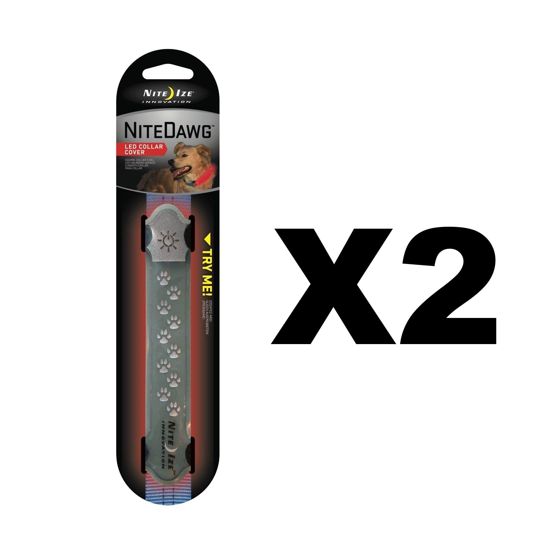 Nite Ize Nite Dawg LED Collar Cover Grey w/Red Safety Light Glow/Flash (2-Pack) by Nite Ize