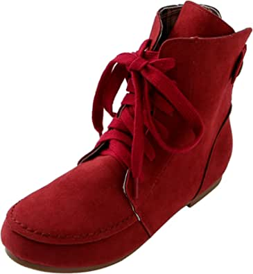 Women Ankle Boots Flat Fashion Suede Lace-Up Martin Combat Boots red