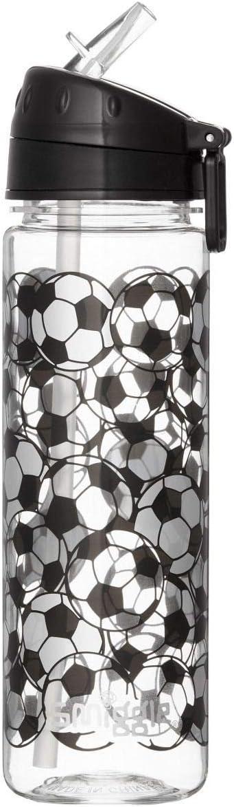 Smiggle Goal, botella de agua rellenable para niñas y niños con boquilla a presión y 650ml de capacidad | Con dibujos futbolísticos