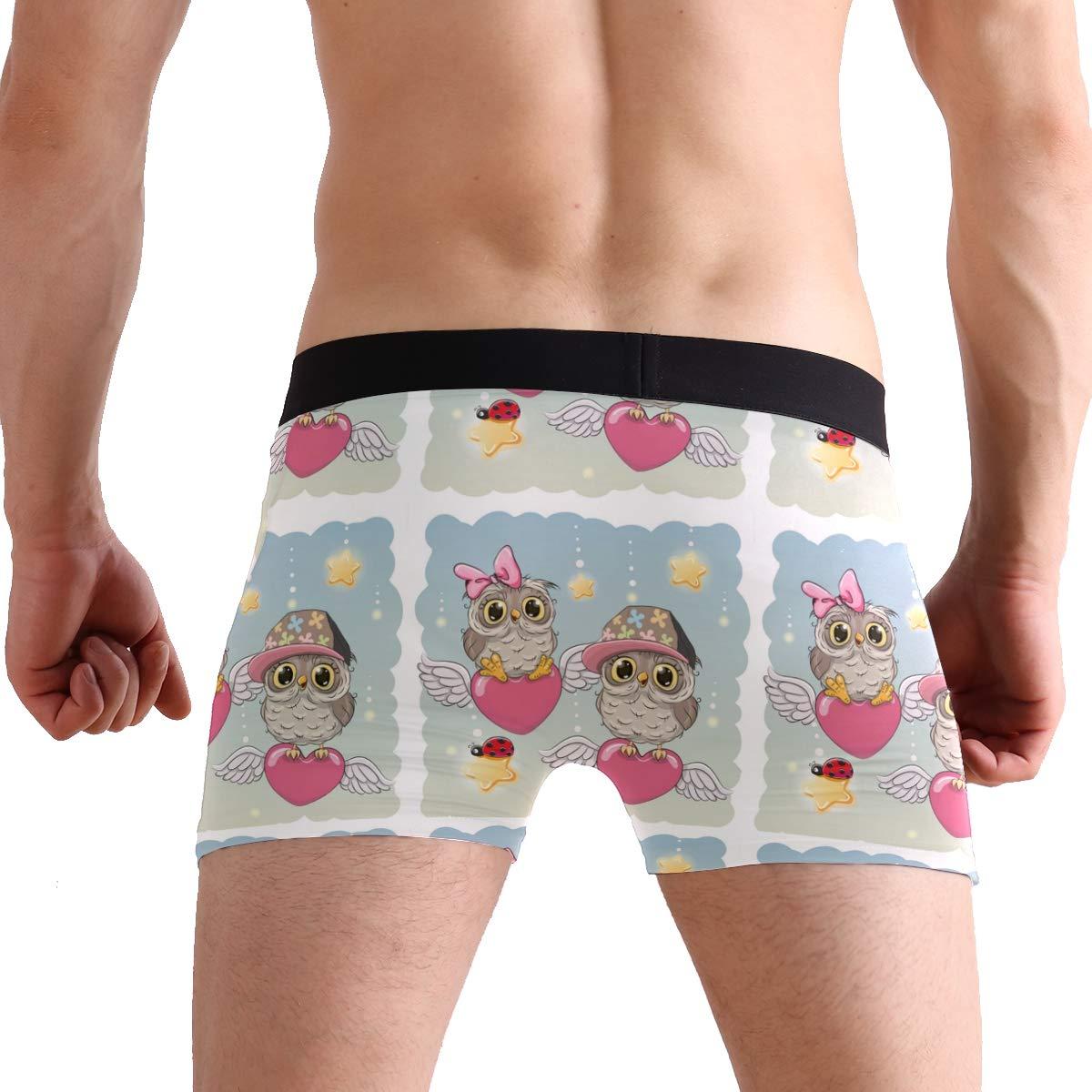 Mens Cute Lovers Owls Pink Underwear Boxer Briefs Ultra Soft Comfortable