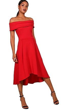 8e9b1d227a5 rouge Femmes rella robe patineuse à épaules dénudées et ourlet plongeant -  16