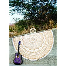 Handicrunch Indian Circle of Flowers Purple Round Roundie Mandala Peacock Tapestry Wall Hanging Throw Beach Picnic Blanket Round Bed Sheet