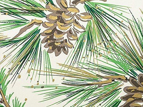 NEW Pine Boughs & Pine Cones w/Gold Accents Christmas Gift Wrap Paper - 16ft Roll by Premium Quality Gift Wrap Paper (Pine Christmas Boughs)