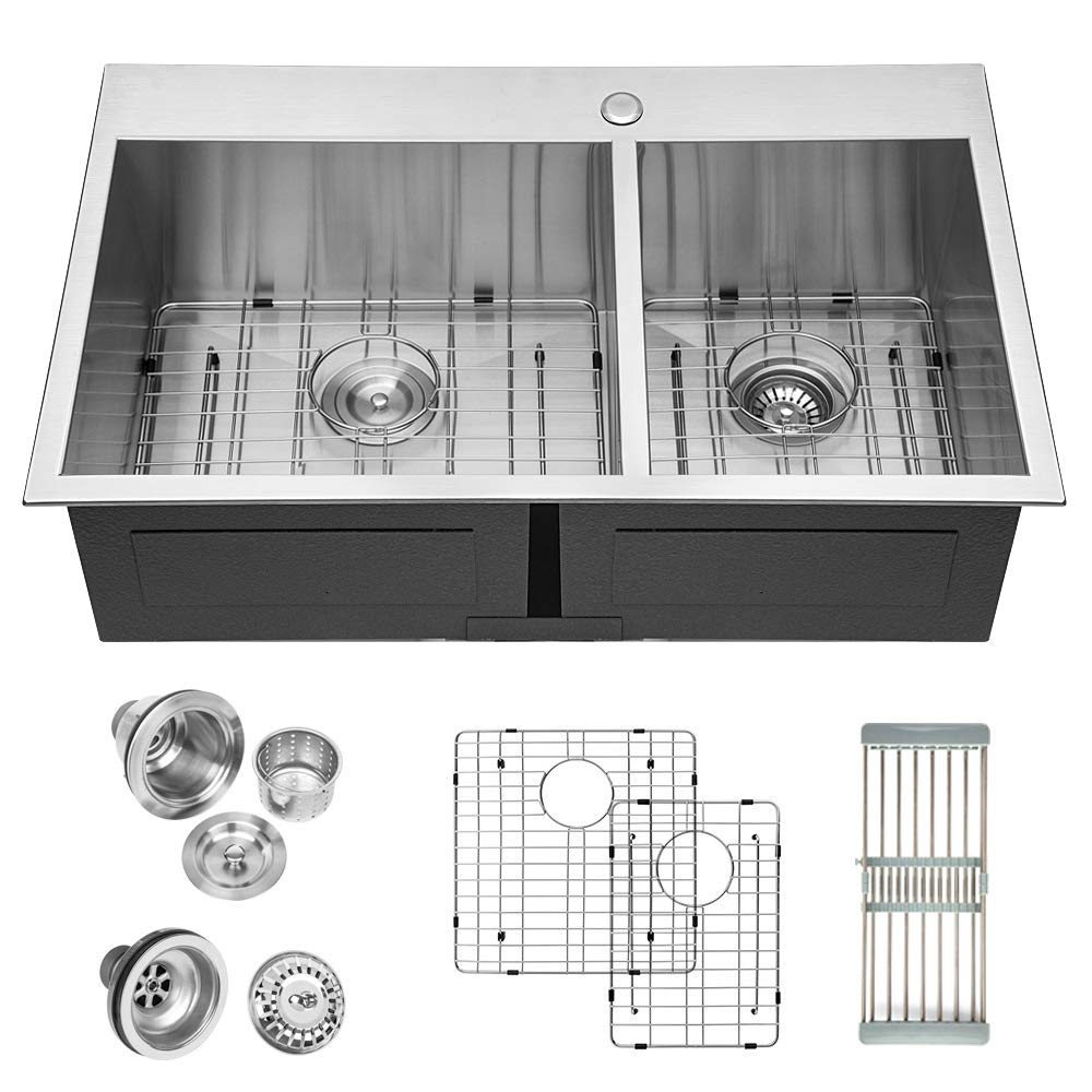 Logmey 32 inch Double Bowl 18 gauge Topmount Drop-in 60 40 Stainless Steel Kitchen Sink