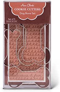 "Ann Clark Cookie Cutters 5-Piece Dog Bone and Biscuit Cookie Cutters for Homemade Treats, 2"", 3"", 3.5"", 4"", 5"""