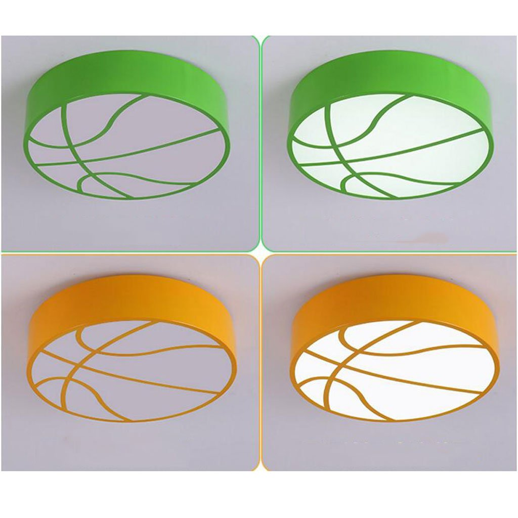 Ceiling light Round led color basketball Children's room Cartoon kindergarten boy bedroom ( Color : Green , Size : C(with remote control) )