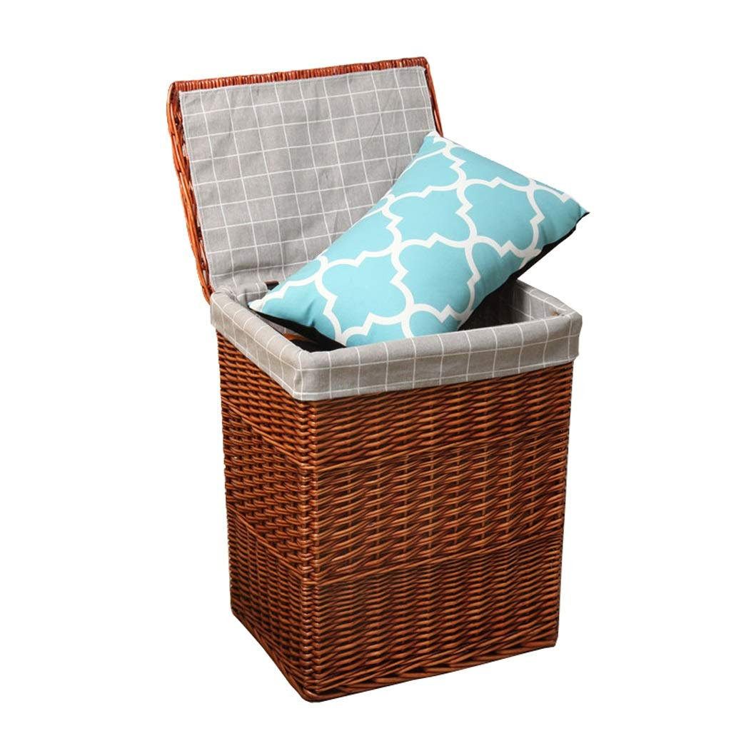 Brown Small LF Wicker Storage Basket,Home Dirty Clothes Toys   Sundries Storage Basketful with Lid, Multiple Colour Laundry Hampers (color   Vintage, Size   Large)