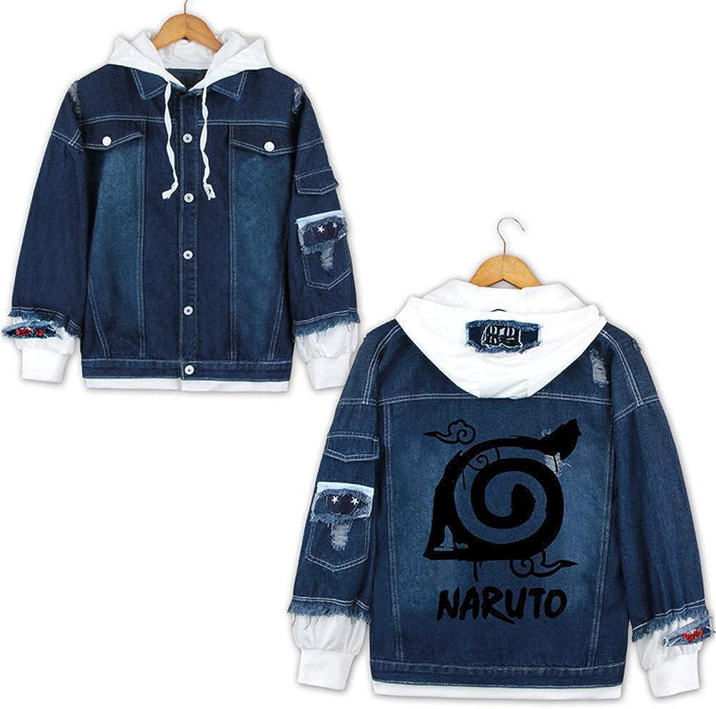 Cosstars Anime Naruto Giacche di Jeans Denim Trucker Jacket Adulto Cosplay Felpa Giubbotto con Cappuccio Blu Scuro/2