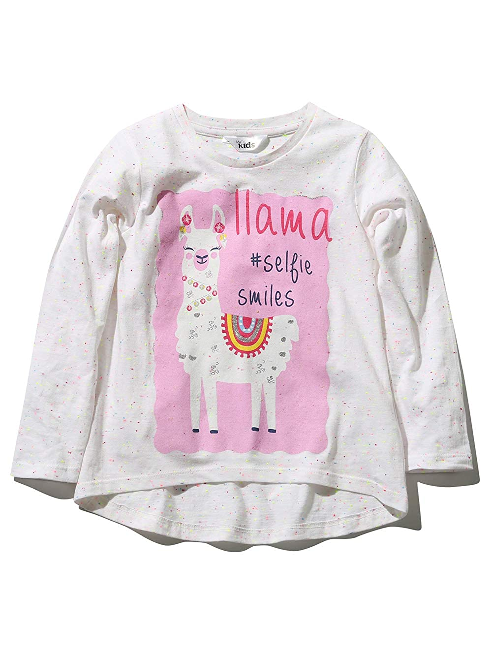 M& Co Girls Long Sleeve Crew Neck Neon Fleck Pink Llama Print Selfie Slogan Casual T-Shirt