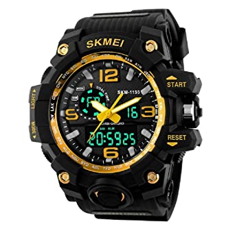 Buy Skmei Analogue Digital Men S Watch Gold Dial At Amazon In