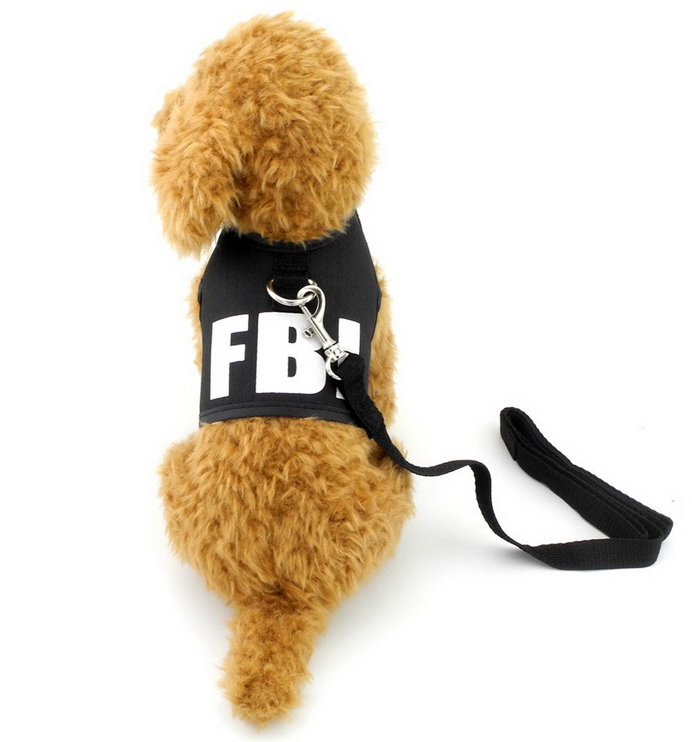 SELMAI FBI Dog Vest Harness and Leash Set for Small Pet Puppy Doggies Boys Cats Leads No Pull Walking Running Sport Training Outdoor Collar Breathable Mesh Pad Dachshund Yorkie Jackets for Summer M