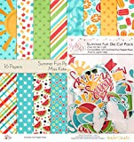 Summer Fun Set - Matching Die Cuts & Paper Kit by Miss Kate Cuttables - 16 Single - Sided 12''x12'' Cardstock Sheets & Over 60 Coordinating Die Cuts