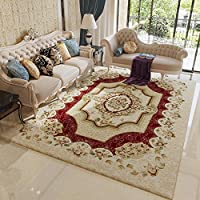 MAXYOYO Ultra Soft Red Floral Carpet,Flower Printing Area Rug Square Carpet Living Room