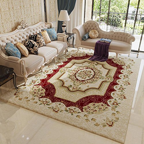 MAXYOYO Ultra Soft Red Floral Carpet,Flower Printing Area Rug Square Carpet for Living Room ()