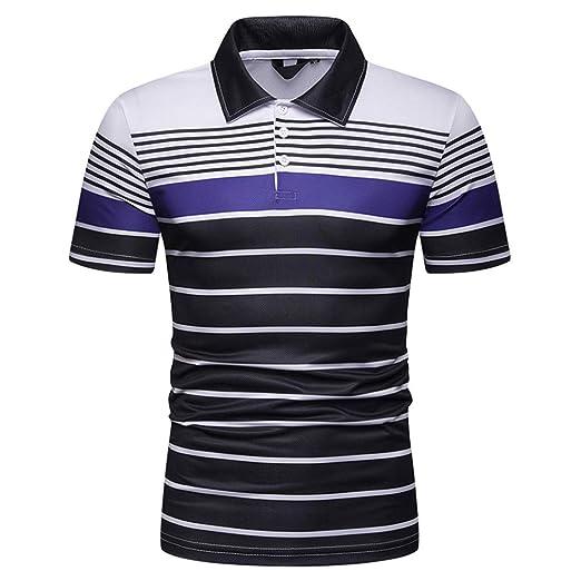 719d81a40 Men s Button Striped Print Lapel Polo Shirt Ninasill Breathable Short  Sleeve V-Neck
