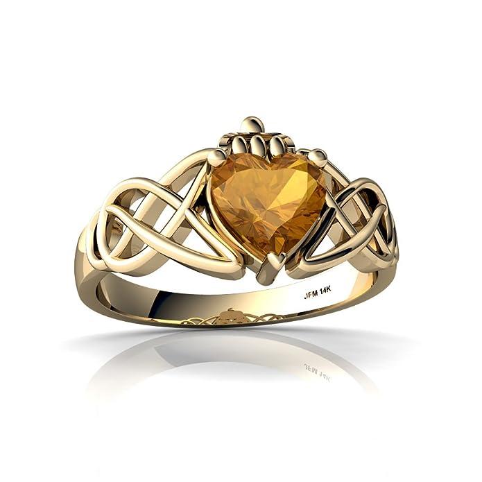 Amazon.com: 14 kt oro citrino 6 mm corazón Claddagh Celta ...